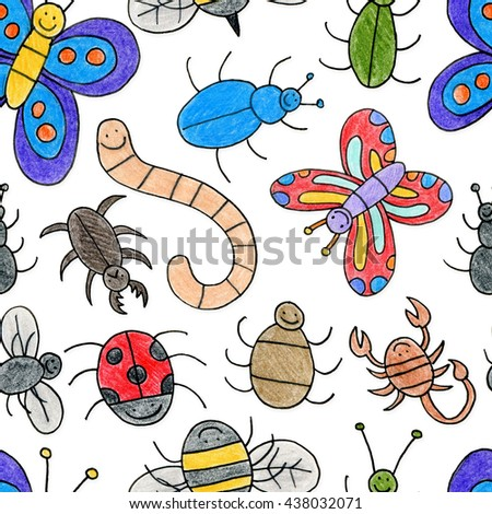 A hand drawn child-like bug pattern. Seamlessly Repeatable.