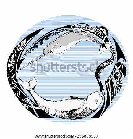 a hand-drawn sketch of beluga and narwhale - stock photo