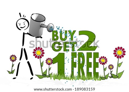 a hand drawn stick man waters a buy two get one free with eco flowers on white background - stock photo