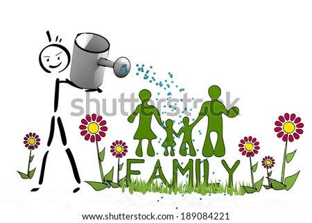 a hand drawn stick man waters a family with scribble flowers on white background - stock photo