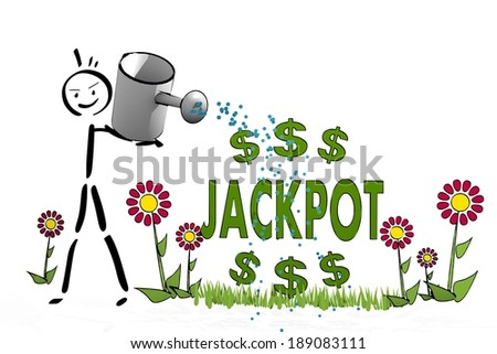 a hand drawn stick man waters a jackpot with simple flowers on white background - stock photo