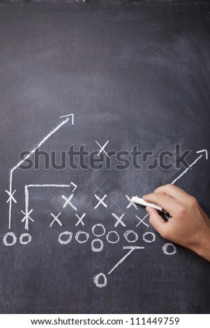 A hand draws a football play on a chalkboard with chalk leaving room for copy. - stock photo