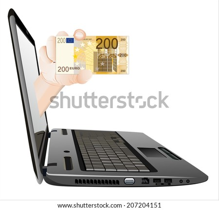 A hand giving a money from a laptop as an on-line payment concept. On-line payment