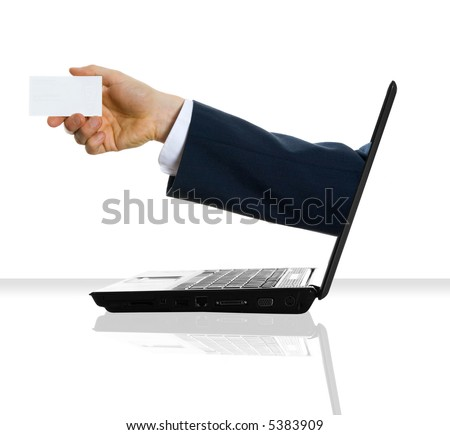a hand giving his card from a laptop