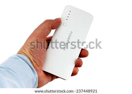 a hand grip of a multi functional mobile battery pack named as power bank with USB ports and a series of LED indicator for power volume in charging of personal mobile terminals and an LED bulb