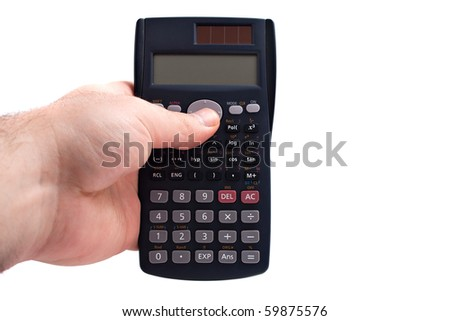 A hand holding a calculator over a white background.  The LCD screen is blank and ready for your own text or message. - stock photo