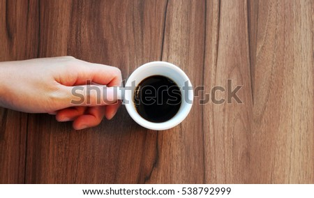 A hand holding a cup of coffee on wooden table background.