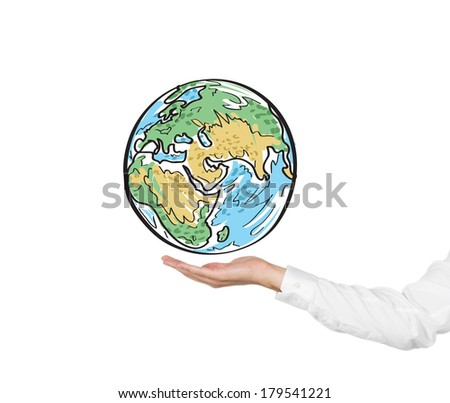 A hand holding a globe (African, Asian and Indian parts)