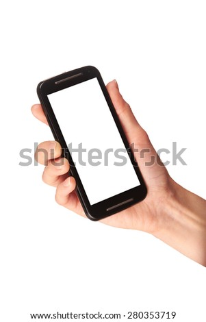 A hand holding a mobile phone with a blank screen isolated on a white background. - stock photo