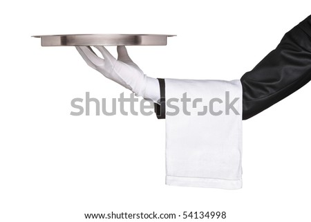 A hand holding a silver tray isolated on white background - stock photo