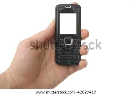 a hand holding blank  cell phone  with clipping paths