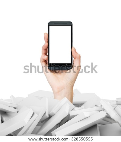 A hand holds a smartphone with white copy space screen. A heap of books with white covers. A concept of education and technology. Isolated on white. - stock photo