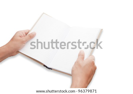 A hand is opening blank page notebook - stock photo