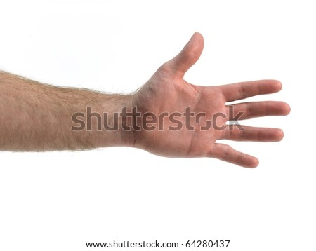 A hand isolated against a white background - stock photo