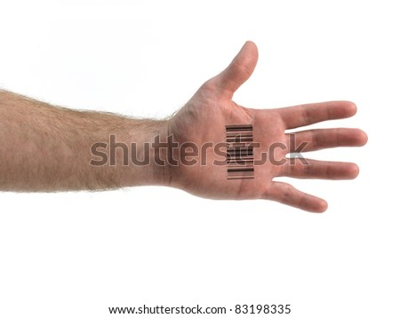 A hand isolated with a barcode against a white background