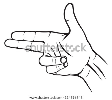 A hand making a shape of a pointed hand gun - stock photo