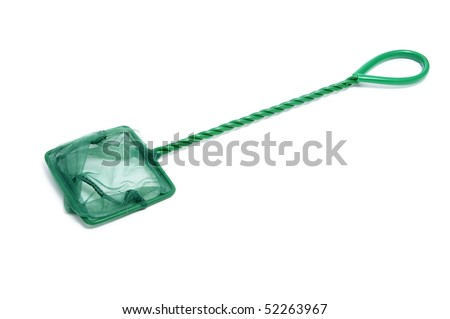 a hand net for aquariums isolated on a white background - stock photo