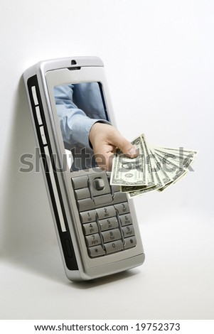A hand of a man reaches out of a cellphone - stock photo