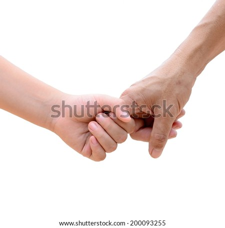 a hand of parent and child