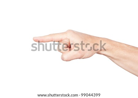A hand on a white background. - stock photo