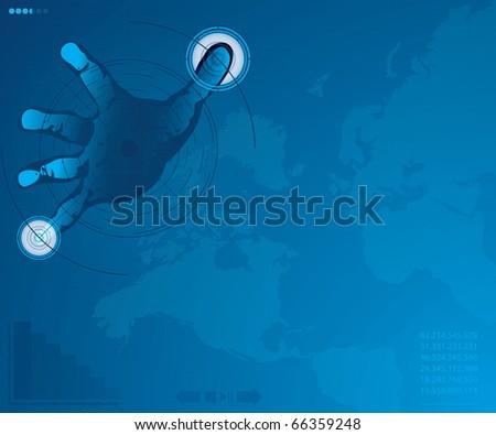 A hand over a hi-tech screen.A future technology - stock photo