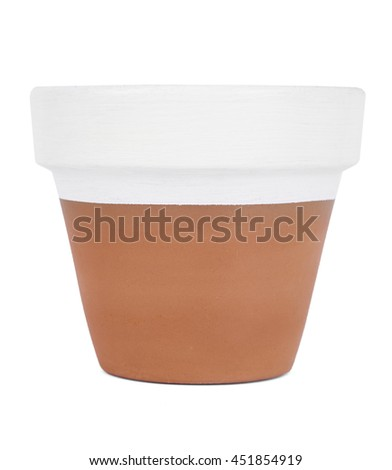 A hand painted terracotta plant pot isolated on a white background