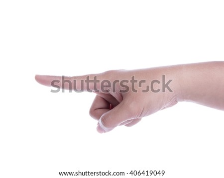 A hand pointing finger, close up portrait isolated on white background - stock photo