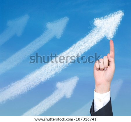 A hand pointing out the arrow 2 - stock photo