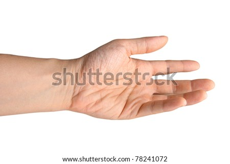 A hand reaching out against white background for easy extraction. - stock photo