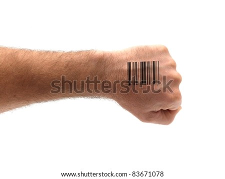 A hand shaped with a barcode isolated against a white background - stock photo