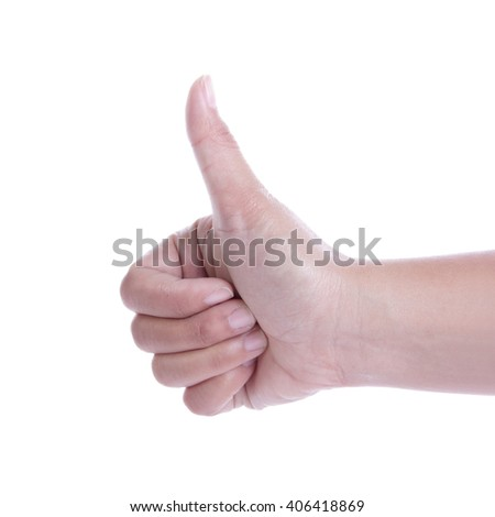 A hand showing thumb up, close up portrait isolated on white background - stock photo