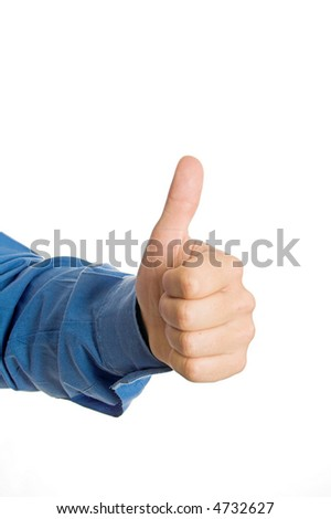 A hand sign on a white isolated background