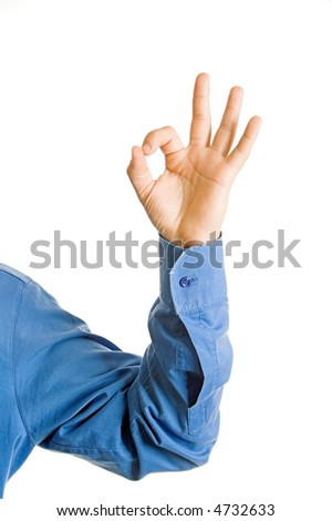 A hand sign on a white isolated background - stock photo