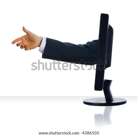 A hand stick out from a monitor to shake