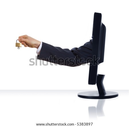a hand sticking out of a monitor with a lock
