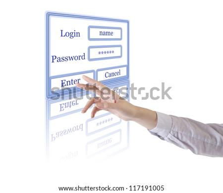 A hand touching a Enter button - stock photo