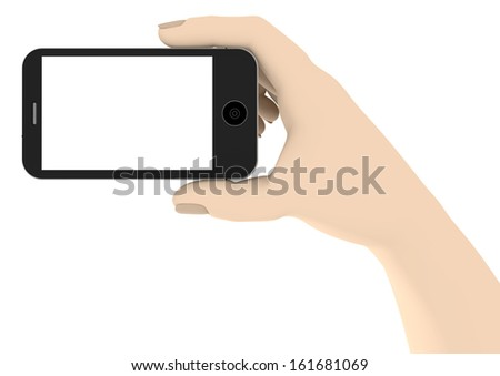 a hand with a phone with white display