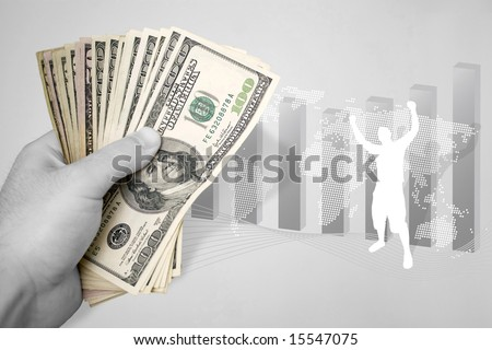 A handful of cash and illustration themed around financial success. The paper money has selective color. - stock photo