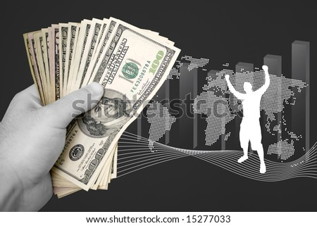 A handful of cash isolated over a business finance themed background. - stock photo