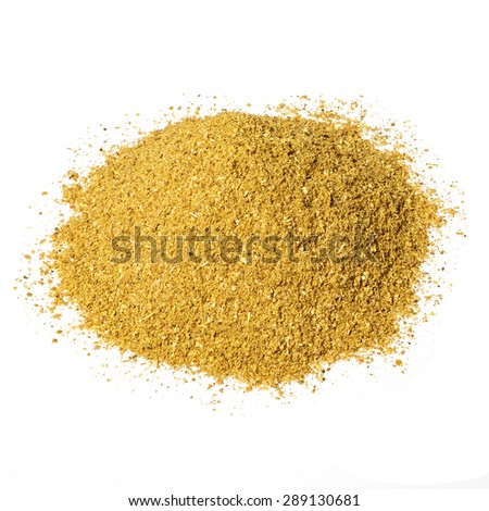 A handful of dried seasonings hops-suneli isolated on white background.