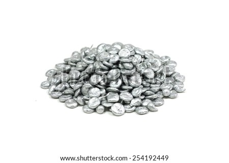 a handful of granular zinc on a white background - stock photo