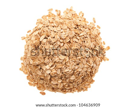 A handful of oatmeal - top view. On a white background. - stock photo