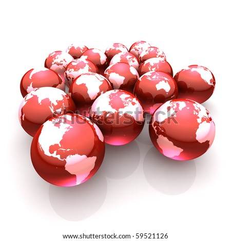 A handful of red globe marbles on white symbolizing bleeding earth - environmental care - stock photo