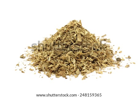 a handful of sawdust on a white background - stock photo