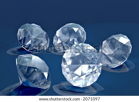 A handful of small cut diamonds on blue velvet - stock photo
