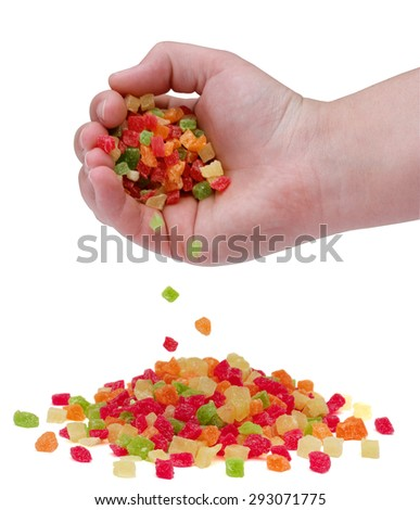 A handful of sweet candied fruit on a white background - stock photo