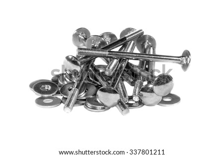 A handful of the mounting bolts and washers isolated on a white background
