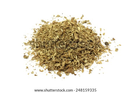 a handful of wood chips on a white background - stock photo