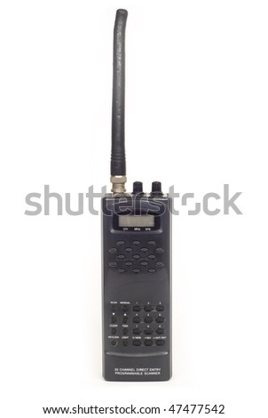 a handheld 2-way radio isolated on white background - stock photo