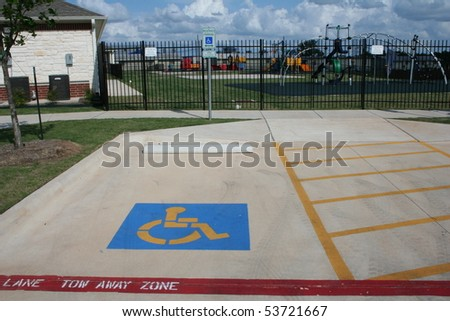 A handicapped parking space - stock photo